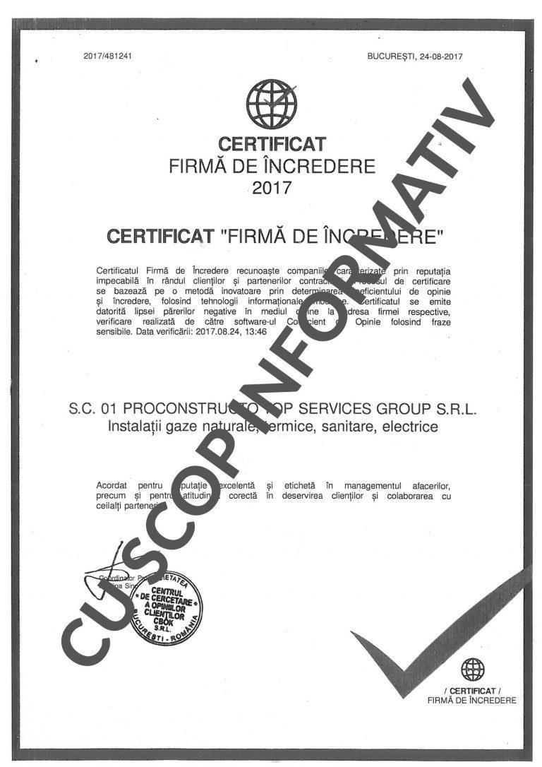 Certificat Firmă de Încredere
