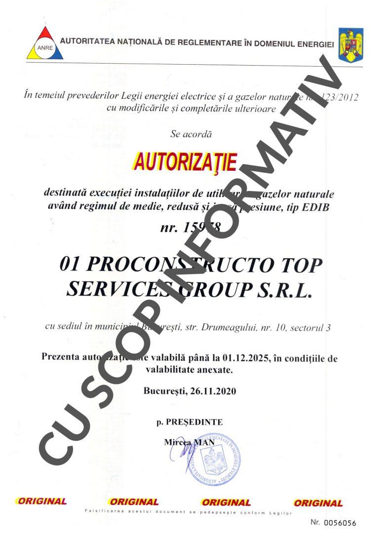 Autorizație A.N.R.E.