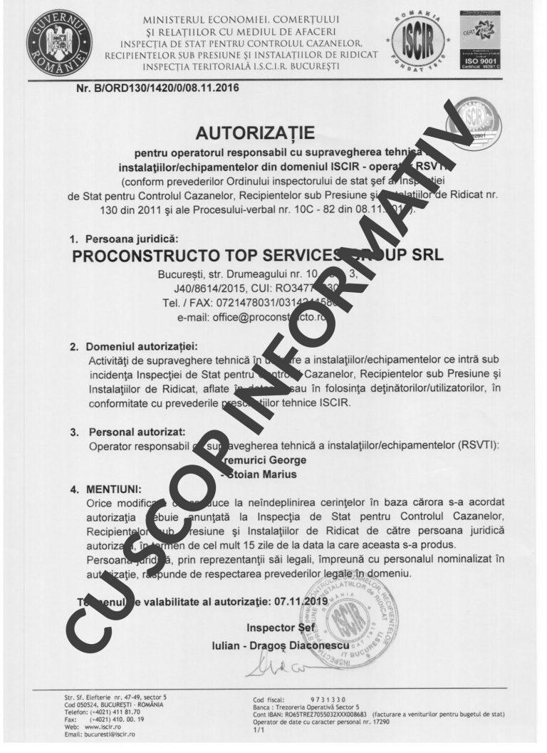 Autorizatie I.S.C.I.R.